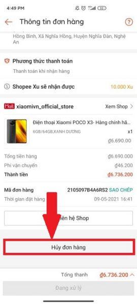 Cách hủy đơn Shopee