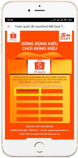 e-voucher mã quà tặng Shopee