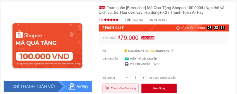 e-voucher nạp thẻ dịch vụ Shopee