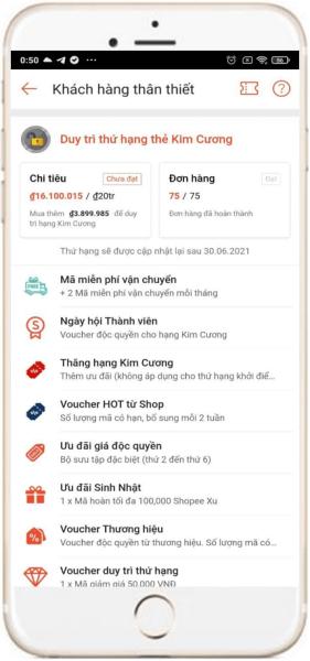 Kiểm tra tổng số tiền đã mua trên Shopee bằng điện thoại