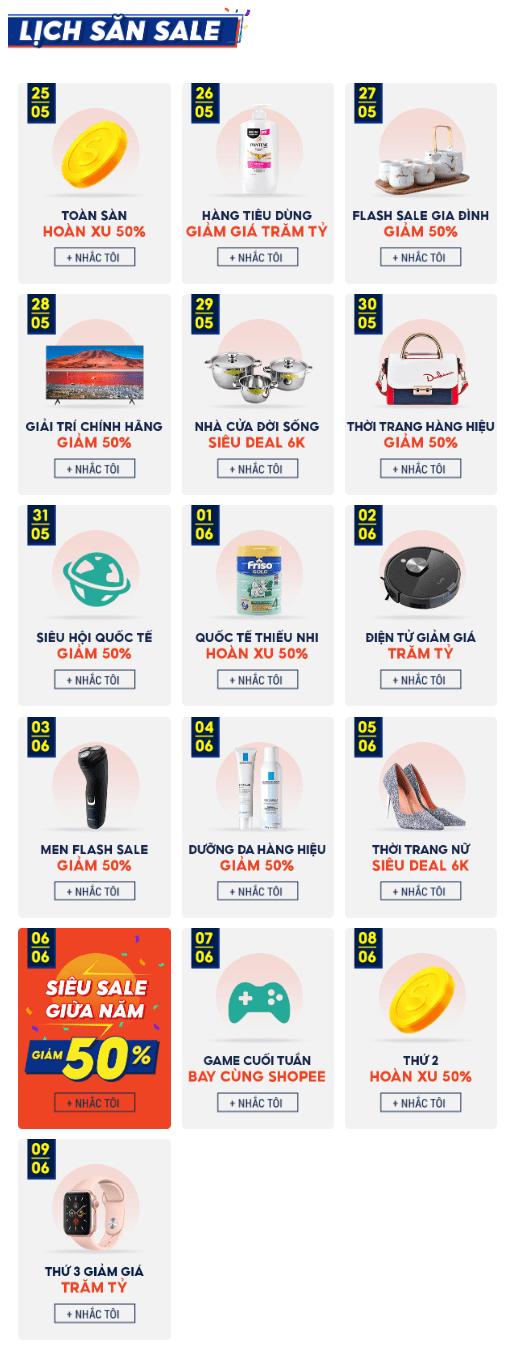 Lịch khuyến mãi Shopee sale giữa năm