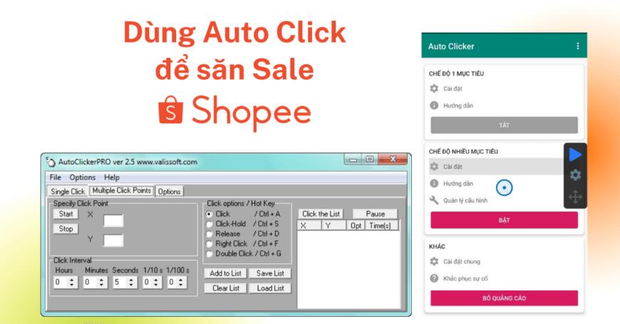 Dùng Auto Click Săn Sale Shopee