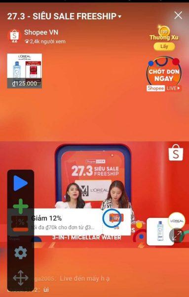 Cài đặt Auto Click để lưu mã live Shopee