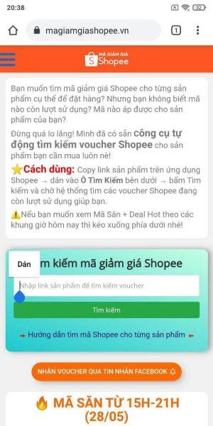 Dùng tool tự động tìm kiếm mã giảm giá Shopee