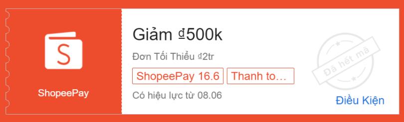 Voucher 500K cho khách hàng mới thành toán bằng ví ShopeePay