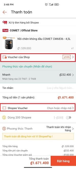 Cách sử dụng 4 mã giảm giá Shopee trong 1 đơn hàng