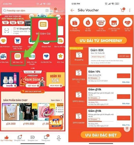 Lấy mã giảm giá tại trang tổng hợp mã của Shopee