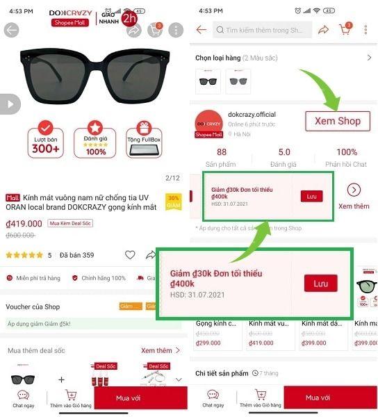 Lấy mã giảm giá từ Shop
